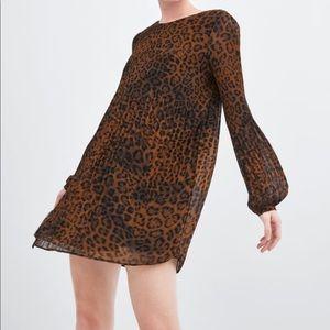 NWT Zara Pleated Animal Print Playsuit